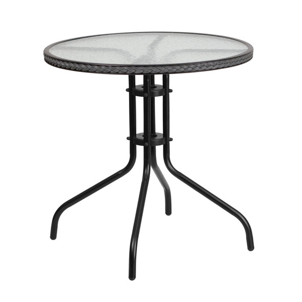 28'' Round Tempered Glass Metal Table with Gray Rattan Edging