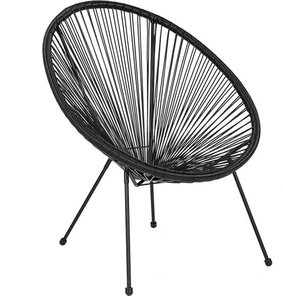 Valencia Oval Comfort Series Take Ten Black Rattan Lounge Chair