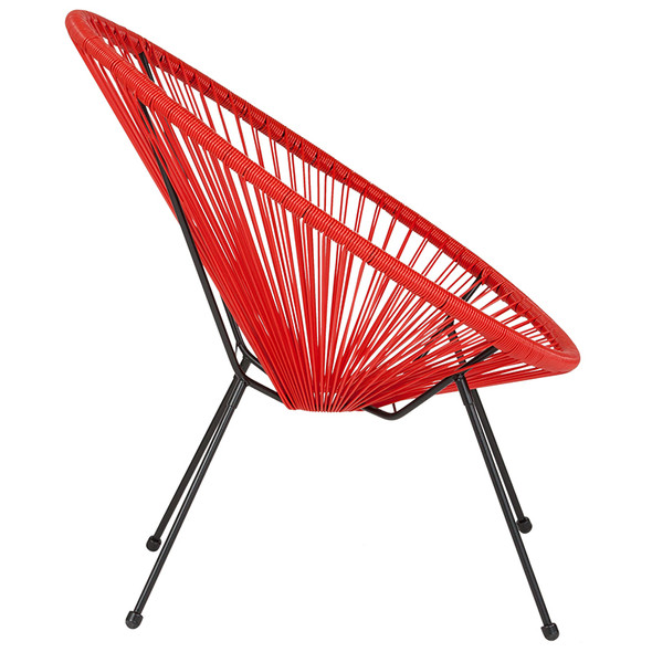 Valencia Oval Comfort Series Take Ten Red Rattan Lounge Chair