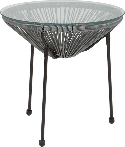 Valencia Oval Comfort Series Take Ten Grey Rattan Table with Glass Top