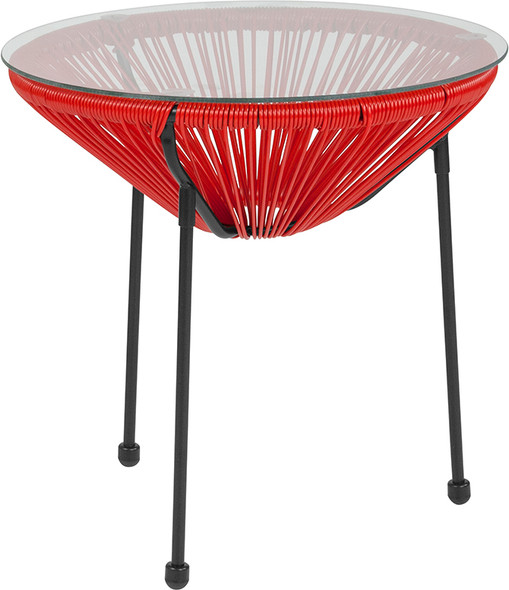Valencia Oval Comfort Series Take Ten Red Rattan Table with Glass Top