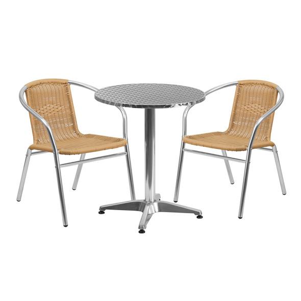 23.5'' Round Aluminum Indoor-Outdoor Table Set with 2 Beige Rattan Chairs
