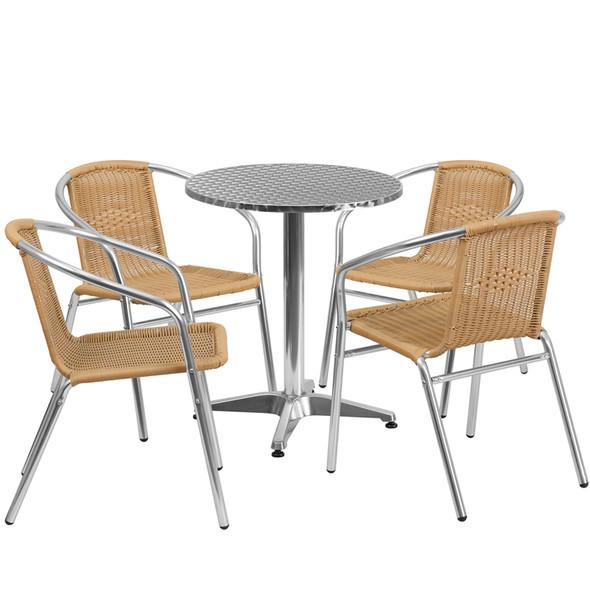23.5'' Round Aluminum Indoor-Outdoor Table Set with 4 Beige Rattan Chairs