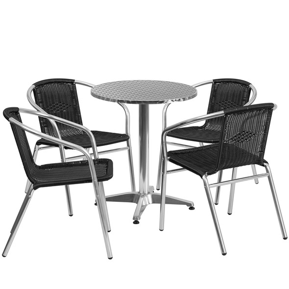 23.5'' Round Aluminum Indoor-Outdoor Table Set with 4 Black Rattan Chairs