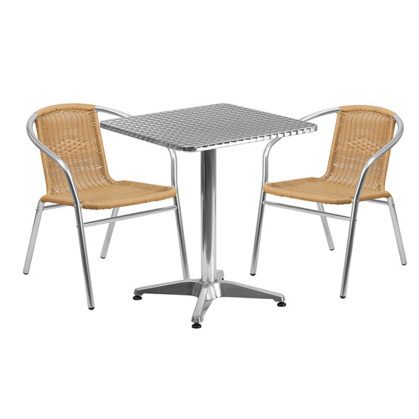 23.5'' Square Aluminum Indoor-Outdoor Table Set with 2 Beige Rattan Chairs