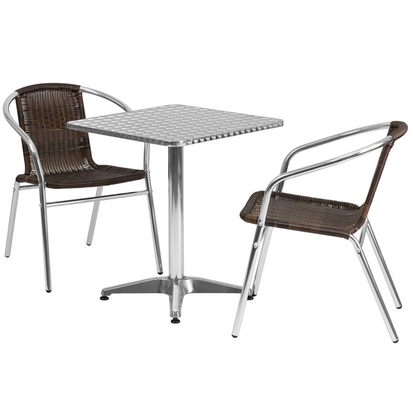 23.5'' Square Aluminum Indoor-Outdoor Table Set with 2 Dark Brown Rattan Chairs
