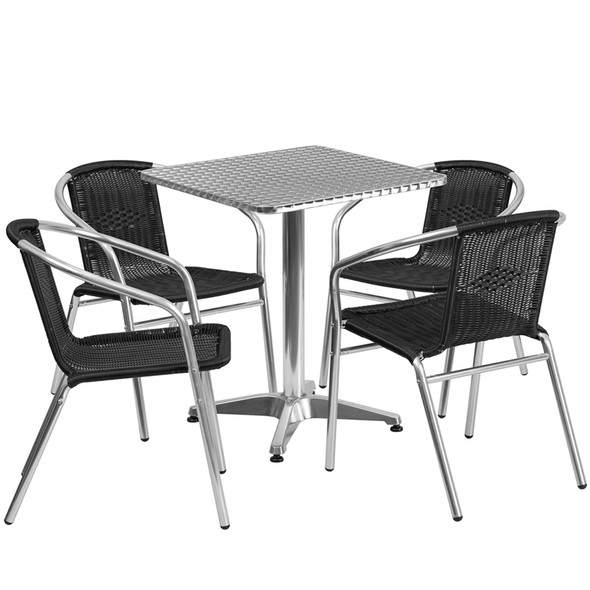 23.5'' Square Aluminum Indoor-Outdoor Table Set with 4 Black Rattan Chairs