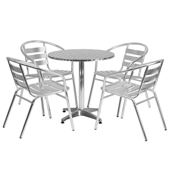 27.5'' Round Aluminum Indoor-Outdoor Table Set with 4 Slat Back Chairs