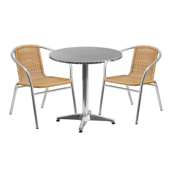 27.5'' Round Aluminum Indoor-Outdoor Table Set with 2 Beige Rattan Chairs