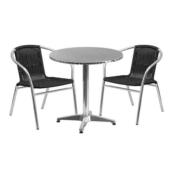 27.5'' Round Aluminum Indoor-Outdoor Table Set with 2 Black Rattan Chairs