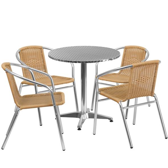 27.5'' Round Aluminum Indoor-Outdoor Table Set with 4 Beige Rattan Chairs