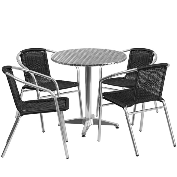 27.5'' Round Aluminum Indoor-Outdoor Table Set with 4 Black Rattan Chairs