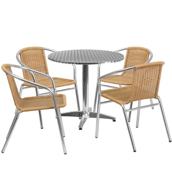 31.5'' Round Aluminum Indoor-Outdoor Table Set with 4 Beige Rattan Chairs