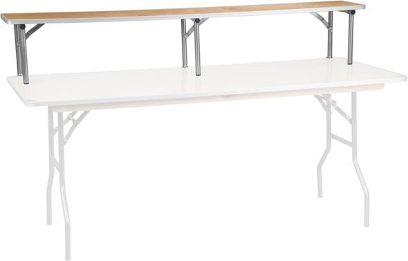 72'' x 12'' x 12'' Birchwood Bar Top Riser with Silver Legs