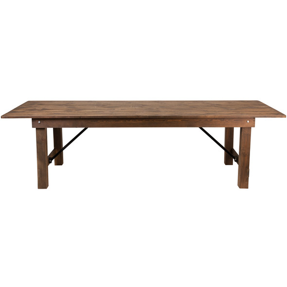 """TYCOON Series 9' x 40"""" Rectangular Antique Rustic Solid Pine Folding Farm Table"""