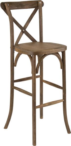 TYCOON Series Dark Antique Wood Cross Back Barstool