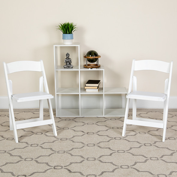 TYCOON Series White Wood Folding Chair with Vinyl Padded Seat