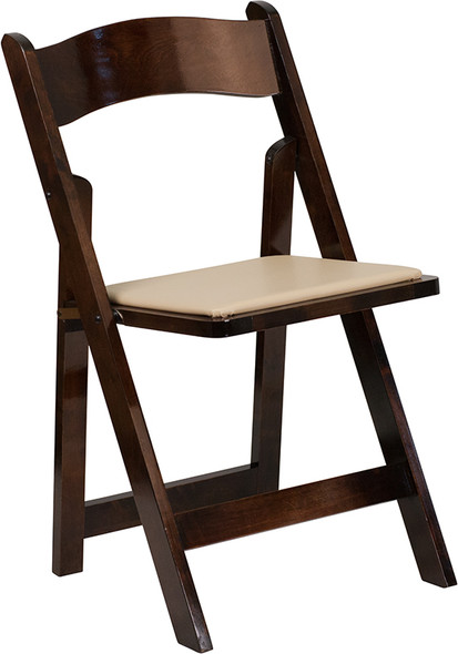 TYCOON Series Fruitwood Wood Folding Chair with Vinyl Padded Seat
