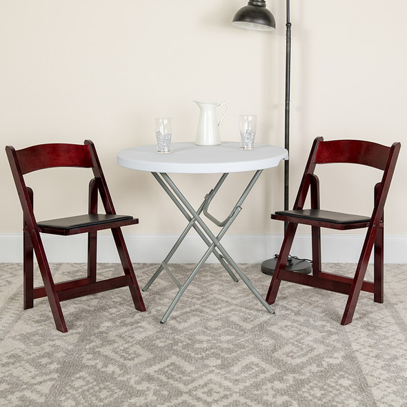 TYCOON Series Mahogany Wood Folding Chair with Vinyl Padded Seat