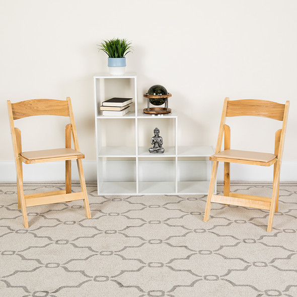 TYCOON Series Natural Wood Folding Chair with Vinyl Padded Seat