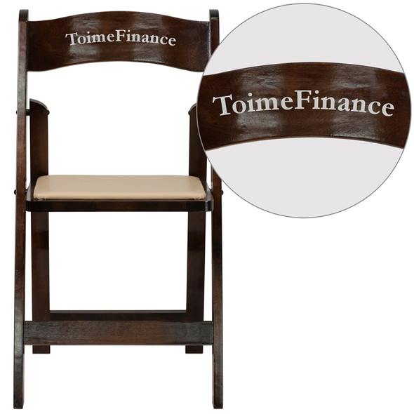 Personalized TYCOON Series Fruitwood Wood Folding Chair with Vinyl Padded Seat