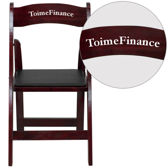 Personalized TYCOON Series Mahogany Wood Folding Chair with Vinyl Padded Seat
