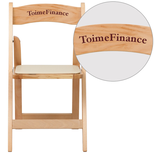 Personalized TYCOON Series Natural Wood Folding Chair with Vinyl Padded Seat
