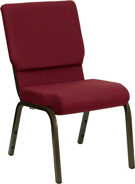 TYCOON Series 18.5''W Stacking Church Chair in Burgundy Fabric - Gold Vein Frame