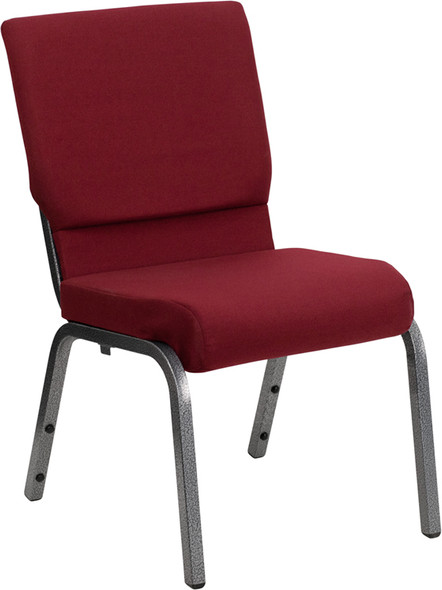 TYCOON Series 18.5''W Stacking Church Chair in Burgundy Fabric - Silver Vein Frame