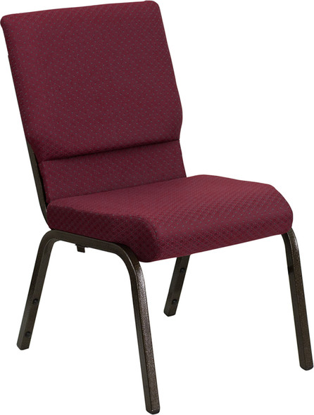 TYCOON Series 18.5''W Stacking Church Chair in Burgundy Patterned Fabric - Gold Vein Frame