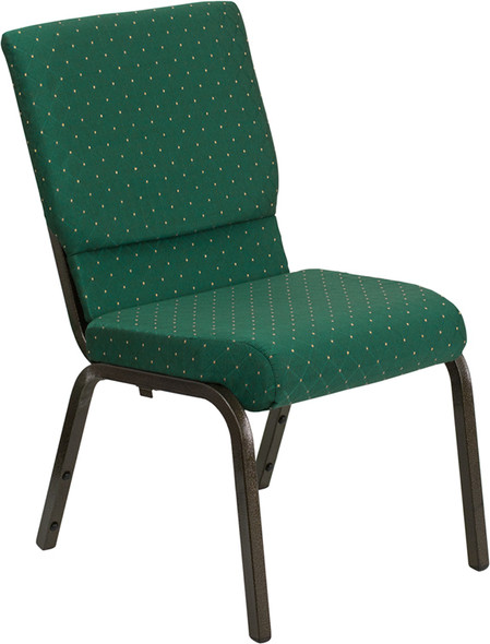 TYCOON Series 18.5''W Stacking Church Chair in Green Patterned Fabric - Gold Vein Frame