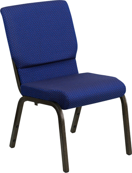 TYCOON Series 18.5''W Stacking Church Chair in Navy Blue Patterned Fabric - Gold Vein Frame