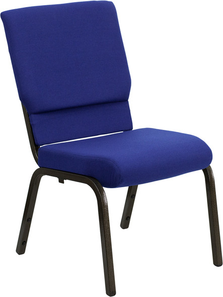 TYCOON Series 18.5''W Stacking Church Chair in Navy Blue Fabric - Gold Vein Frame