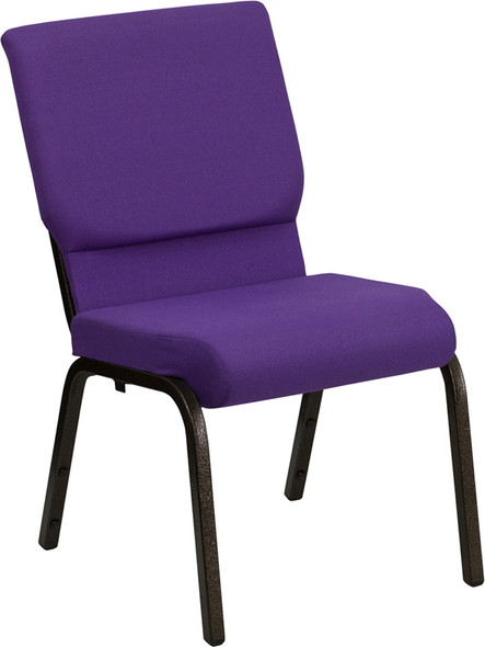 TYCOON Series 18.5''W Stacking Church Chair in Purple Fabric - Gold Vein Frame