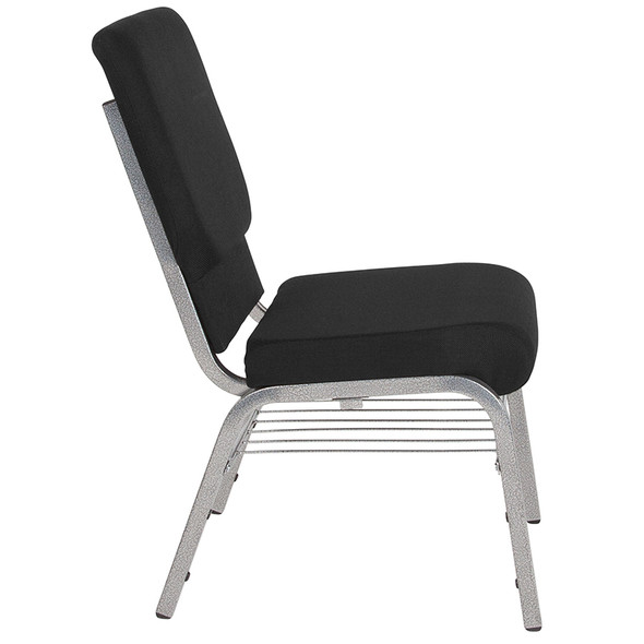 TYCOON Series 18.5''W Church Chair in Black Fabric with Book Rack - Silver Vein Frame