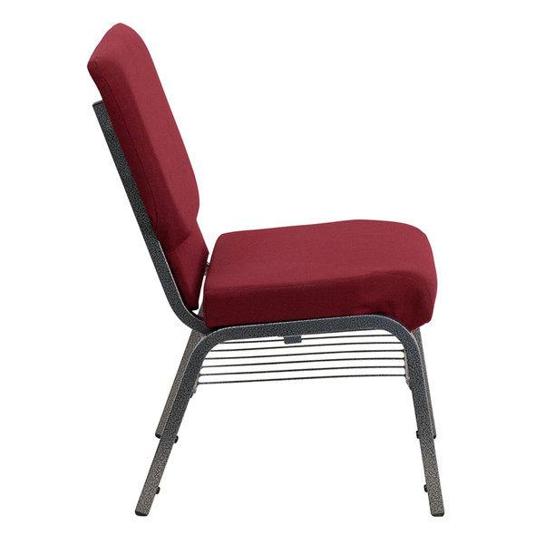TYCOON Series 18.5''W Church Chair in Burgundy Fabric with Book Rack - Silver Vein Frame