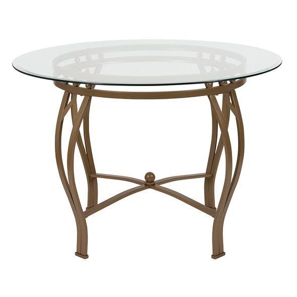 Syracuse 42'' Round Glass Dining Table with Matte Gold Metal Frame