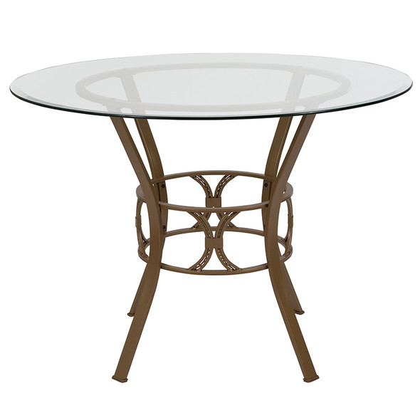 Carlisle 42'' Round Glass Dining Table with Matte Gold Metal Frame