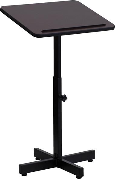 Adjustable Height Metal Lectern in Mahogany