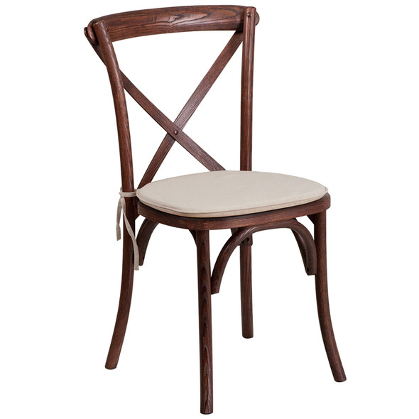 TYCOON Series Stackable Mahogany Wood Cross Back Chair with Cushion