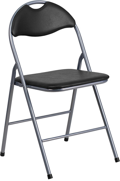 TYCOON Series Black Vinyl Metal Folding Chair with Carrying Handle