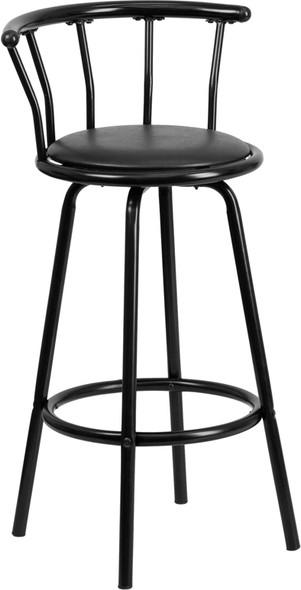 Crown Back Black Metal Barstool with Black Vinyl Swivel Seat (Fixed Height)