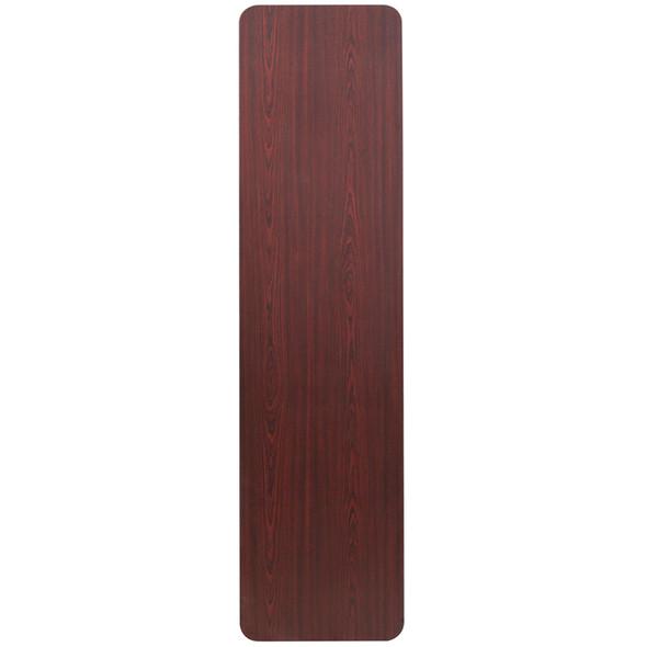18'' x 72'' Rectangular Mahogany Melamine Laminate Folding Training Table