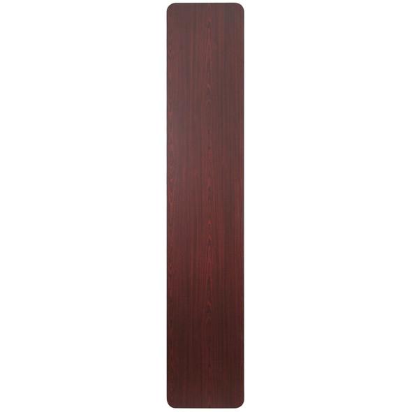 18'' x 96'' Rectangular Mahogany Melamine Laminate Folding Training Table