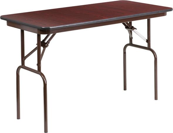 24'' x 48'' Rectangular High Pressure Mahogany Laminate Folding Banquet Table
