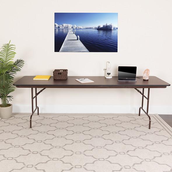 30'' x 96'' Rectangular High Pressure Mahogany Laminate Folding Banquet Table