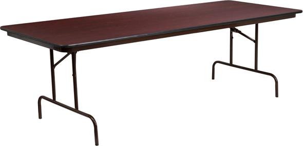 36'' x 96'' Rectangular High Pressure Mahogany Laminate Folding Banquet Table