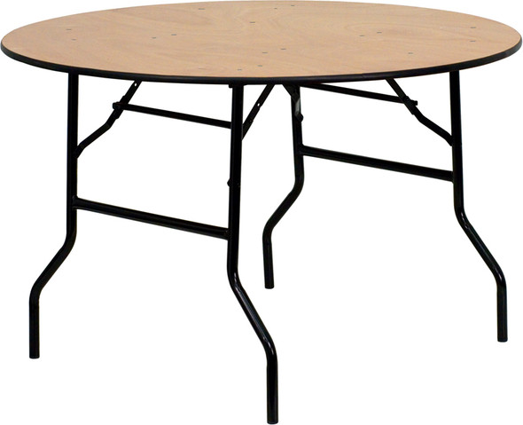 48'' Round Wood Folding Banquet Table with Clear Coated Finished Top