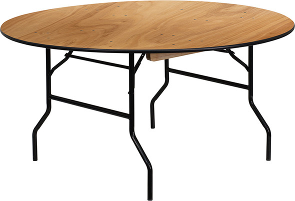 60'' Round Wood Folding Banquet Table with Clear Coated Finished Top