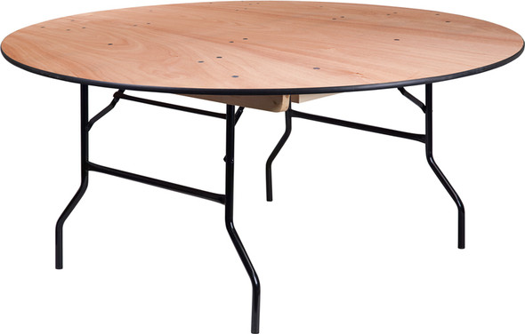66'' Round Wood Folding Banquet Table with Clear Coated Finished Top